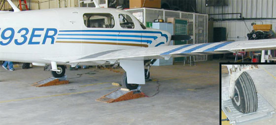Figure 4-13. Mooney M20 being weighed with portable electronic platform scales.