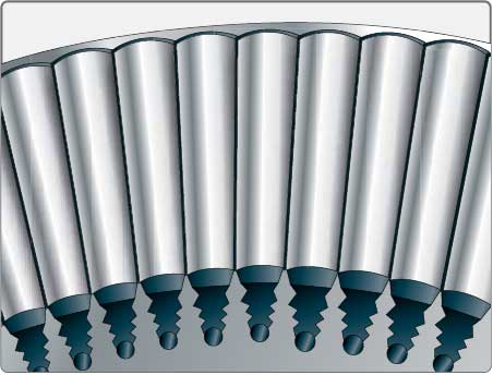 Figure 1-65. Rivet method of turbine blade retention.