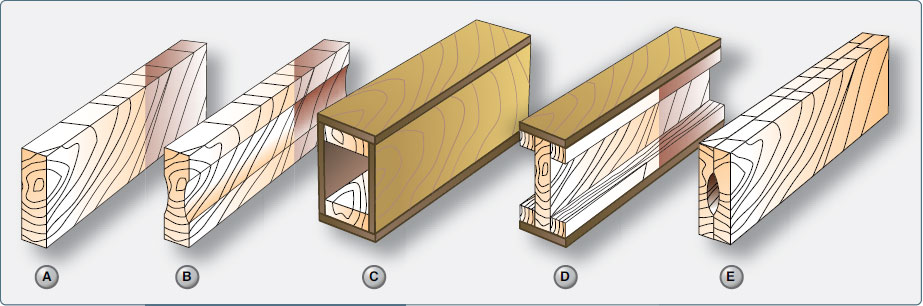 Figure 1-25. Typical wooden wing spar cross-sections.