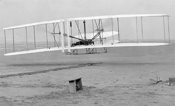 Figure 1-4. The Wright Flyer was the first successful powered aircraft. It was made primarily of wood and fabric.