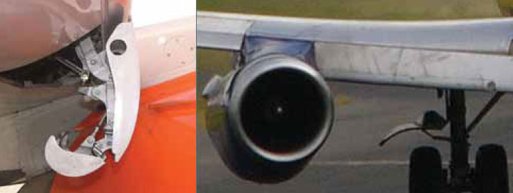 Figure 1-66. Side view (left) and front view (right) of a Krueger flap on a Boeing 737.