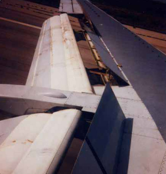 Figure 1-68. Spoilers deployed upon landing on a transport category aircraft.