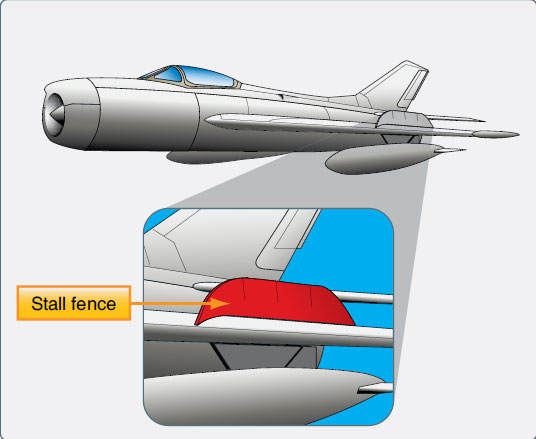 Figure 1-80. A stall fence aids in maintaining chordwise airflow over the wing.