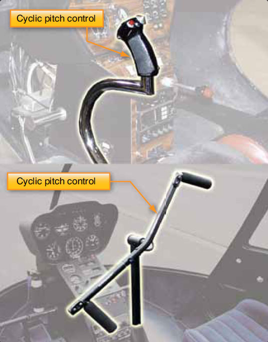 Figure 2-48. The cyclic pitch control may be mounted vertically between the pilot's knees or on a teetering bar from a single cyclic located in the center of the helicopter. The cyclic can pivot in all directions.