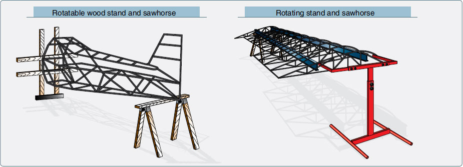Figure 3-14. Rotating stands and sawhorses facilitate easy access to top and bottom surfaces during the fabric covering process.