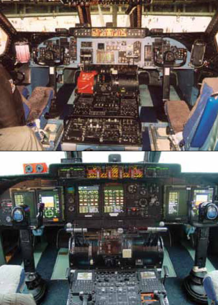 Figure 10-2. A conventional instrument panel of the C-5A Galaxy (top) and the glass cockpit of the C-5B Galaxy (bottom).