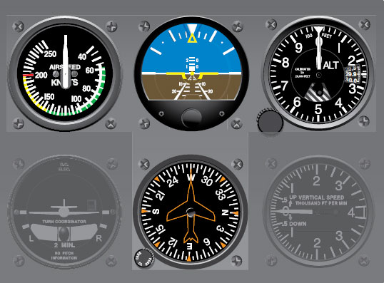 Figure 10-4. The basic T arrangement of analog flight instruments. At the bottom of the T is a heading indicator that functions as a compass but is driven by a gyroscope and not subject to the oscillations common to magnetic direction indicators.