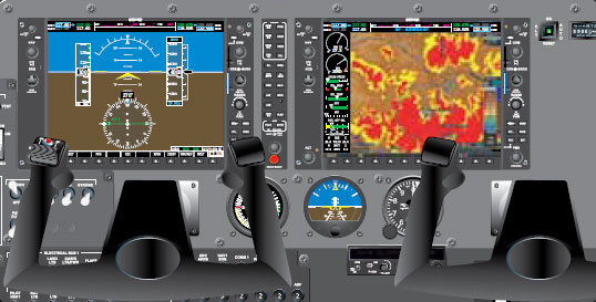 Figure 10-5. This electrically operated flat screen display instrument panel, or glass cockpit, retains an analog airspeed indicator, a gyroscope-driven artificial horizon, and an analog altimeter as a backup should electric power be lost, or a display unit fails.