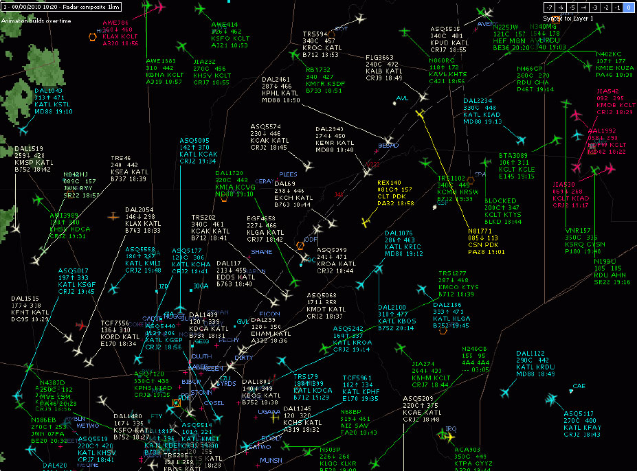 """Figure 11-128. Air traffic control radar technology and an onboard radar beacon transponder work together to convey and display air traffic information on a PPI radar screen. A modern approach ATC PPI is shown. Targets representing aircraft are shown as little aircraft on the screen. The nose of the aircraft indicates the direction of travel. Most targets shown above are airliners. The data block for each target includes the following information either transmitted by the transponder or matched and loaded from flight plans by a flight data processor computer: call sign, altitude/speed, origination/destination, and aircraft type/ETA (ZULU time). A """"C"""" after the altitude indicates the information came from a Mode C equipped transponder. The absence of a C indicates Mode S is in use. An arrow up indicates the aircraft is climbing. An arrow down indicates a descent. White targets are arrivals, light blue targets are departures, all other colors are for arrivals and departures to different airports in the area."""