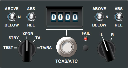 Figure 11-134. This control panel from a Boeing 767 controls the transponder for ATC use and TCAS.