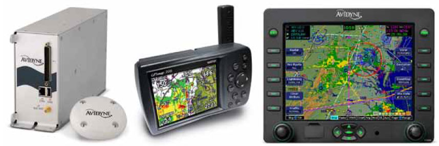 Figure 11-147. A satellite weather receiver and antenna enable display of real-time textual and graphic weather information beyond that of airborne weather radar. A handheld GPS can also be equipped with these capabilities. A built-in multifunctional display with satellite weather overlays and navigation information can be found on many aircraft.