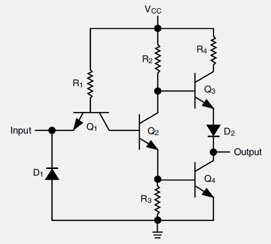 Figure 11-62. An electronic circuit that reliably performs the NOT logic function.