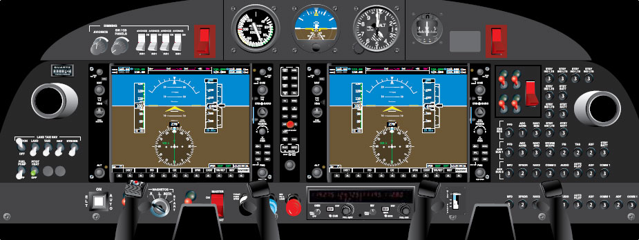 Figure 11-70. A modern glass cockpit on a general aviation aircraft. Digital data displays replace many older instruments and indicators of the past.