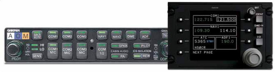 Figure 11-73. An audio panel in a general aviation aircraft integrates the selection of several radio-based communication and navigational aids into a single control panel (left). A digital tuner (right, Image © Rockwell Collins, Inc.) does the same on a business class aircraft and allows the frequency of each device to be tuned from the same panel as well.