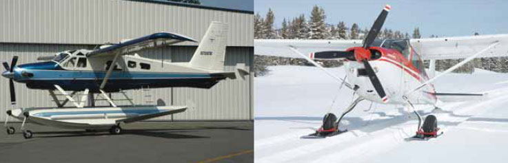 Figure 13-2. An amphibious aircraft with retractable wheels (left) and an aircraft with retractable skis (right).