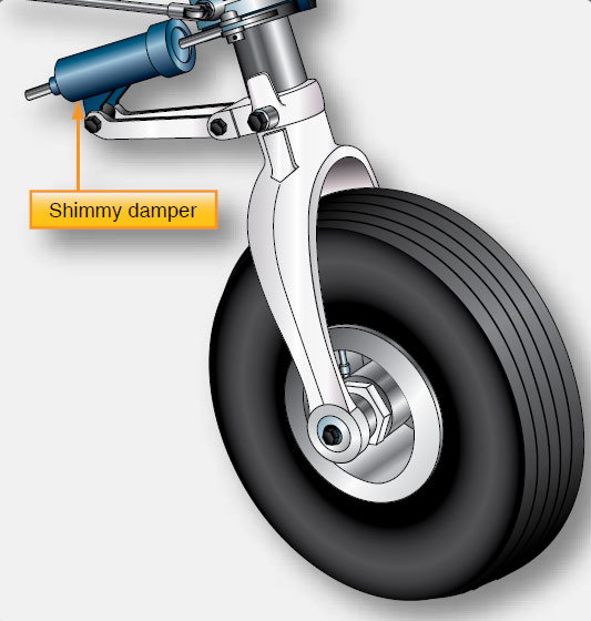 Figure 13-21. A shimmy damper helps control oscillations of the nose gear.