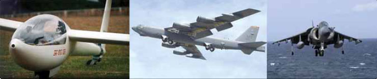Figure 13-5. Tandem landing gear along the longitudinal axis of the aircraft permits the use of flexible wings on sailplanes (left) and select military aircraft like the B-52 (center). The VTOL Harrier (right) has tandem gear with outrigger-type gear.