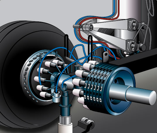 Figure 13-87. Many modern segmented rotor disc brakes use a housing machined to fit numerous individual actuating pistons.