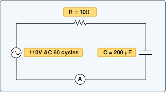 Figure 9-26. A circuit containing resistance and capacitance.