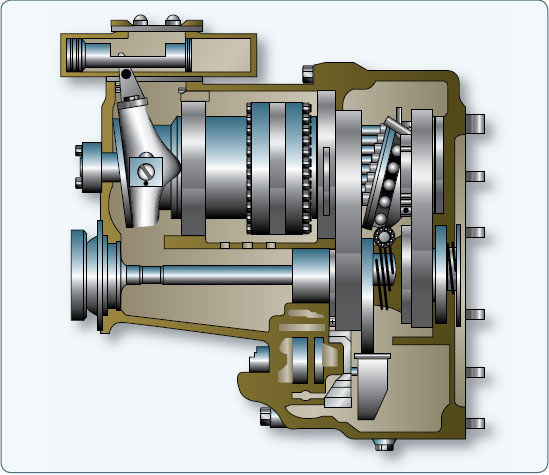 Figure 9-79. A hydraulic constant speed drive for an AC alternator.