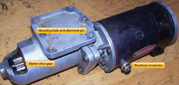 Figure 5-11. Starter drive gear mounting holes and electrical connector.