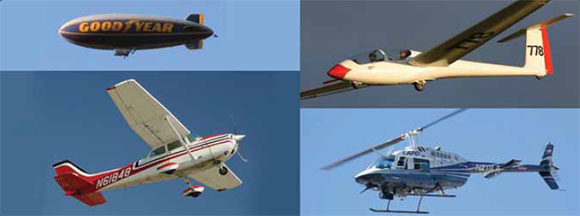 Figure 1-11. Examples of different categories of aircraft, clockwise from top left: lighter-than-air, glider, rotorcraft, and airplane.