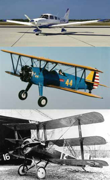 Figure 1-12. A monoplane (top), biplane (middle), and tri-wing aircraft (bottom).