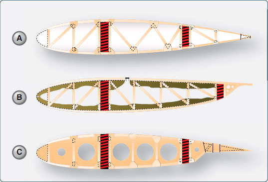 Figure 1-31. Examples of wing ribs constructed of wood.
