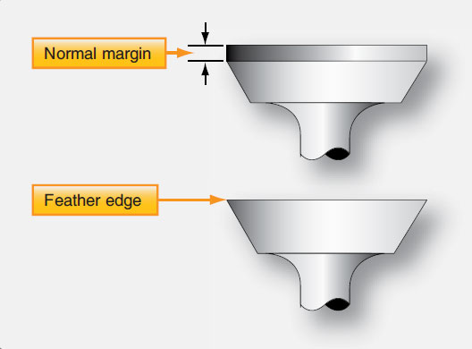 Figure 10-26. Engine valves showing normal margin and a feather edge.
