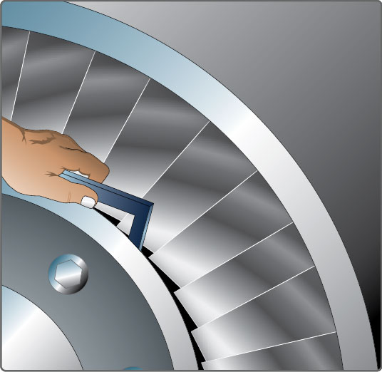 Figure 10-71. Measuring turbine wheel to exhaust cone clearance.