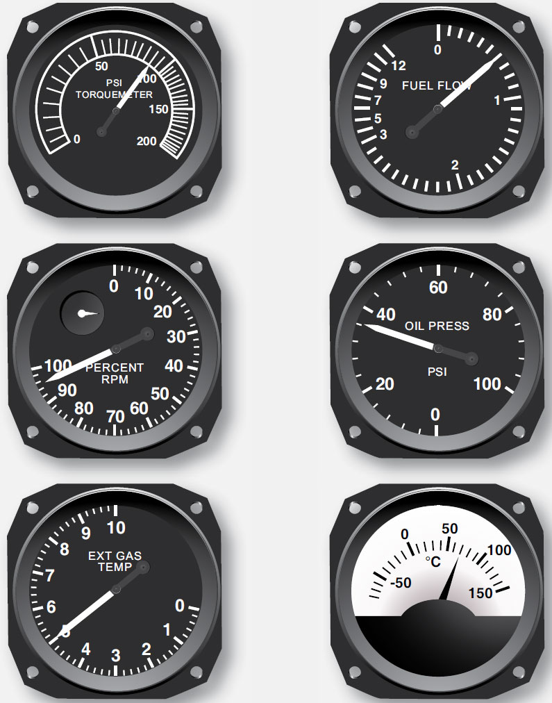 Figure 10-73. Typical turbine engine instruments.