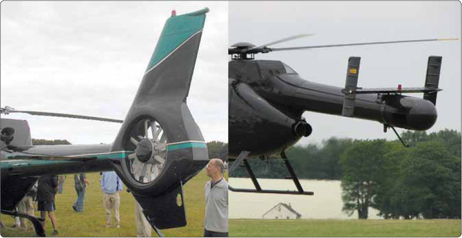 Figure 2-28. Aerospatiale Fenestron tail rotor system (left) and the McDonnell Douglas NOTAR® System (right).