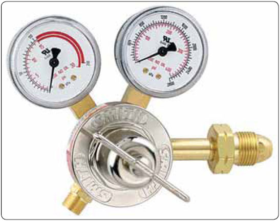 Figure 5-13. Single-stage acetylene regulator. Note the maximum 15-psi working pressure. The notched groove cylinder connection nut indicates a left hand thread.