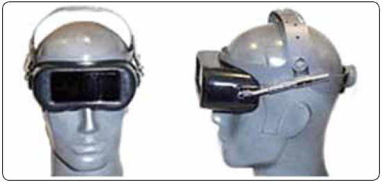 Figure 5-19. Gas welding eye shield attached to adjustable headgear.