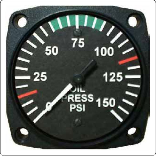 Figure 10-13. An analog oil pressure gauge is driven by a Bourdon tube. Oil pressure is vital to engine health and must be monitored by the pilot.