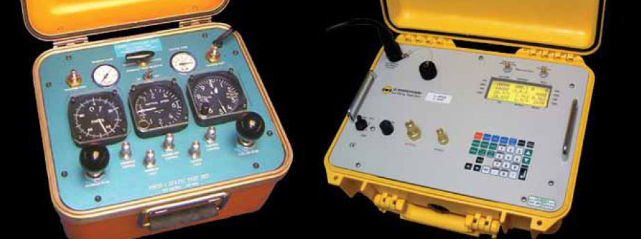 Figure 10-138. An analog pitot-static system test unit (left) and a digital pitot static test unit (right).