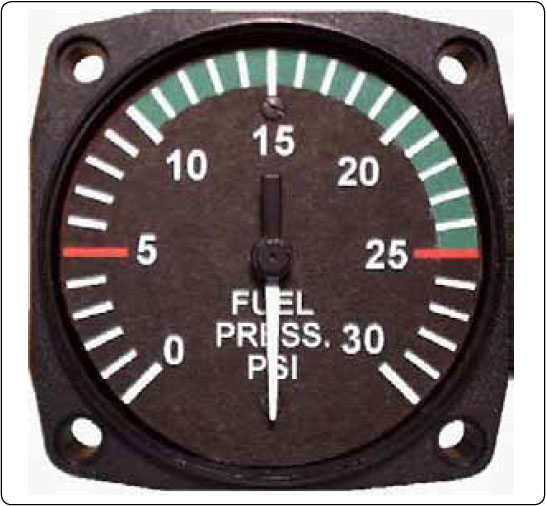 Figure 10-17. A typical analog fuel pressure gauge.