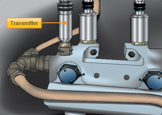 Figure 10-18. A hydraulic pressure transmitter senses and converts pressure into an electrical output for indication by the cockpit gauge or for use by a computer that analyzes and displays the pressure in the cockpit when requested or required.