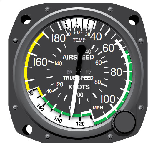 Figure 10-43. An analog true airspeed indicator. The pilot manually aligns the outside air temperature with the pressure altitude scale, resulting in an indication of true airspeed.