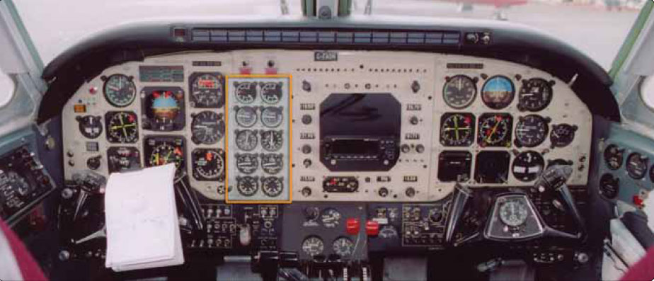 Figure 10-7. An engine instrumentation located in the middle of the instrument panel is shared by the pilot and co-pilot.