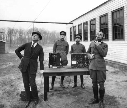 Figure 11-1. Early voice communication radio tests in 1917. Courtesy of AT&T Archives and History Center.