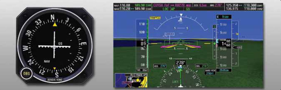 """Figure 11-113. A traditional course deviation indicator is shown on the left. The horizontal white line is the deviation indicator for the glideslope. The vertical line is for the localizer. On the right, a Garmin G-1000 PFD illustrates an aircraft during an ILS approach. The narrow vertical scale on the right of the attitude indicator with the """"G"""" at the top is the deviation scale for the glideslope. The green diamond moves up and down to reflect the aircraft being above or below the glidepath. The diamond is shown centered indicating the aircraft is on course vertically. The localizer CDI can be seen at the bottom center of the display. It is the center section of the vertical green course indicator. LOC1 is displayed to the left of it."""