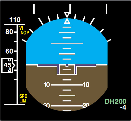 Figure 11-141. The decision height, DH200, in the lower right corner of this EADI display uses the radar altimeter as the source of altitude information.