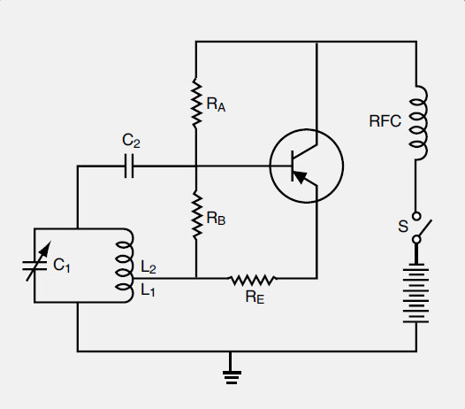 Figure 11-59. A Hartley oscillator uses a tank circuit and a transistor to maintain oscillation whenever power is applied.