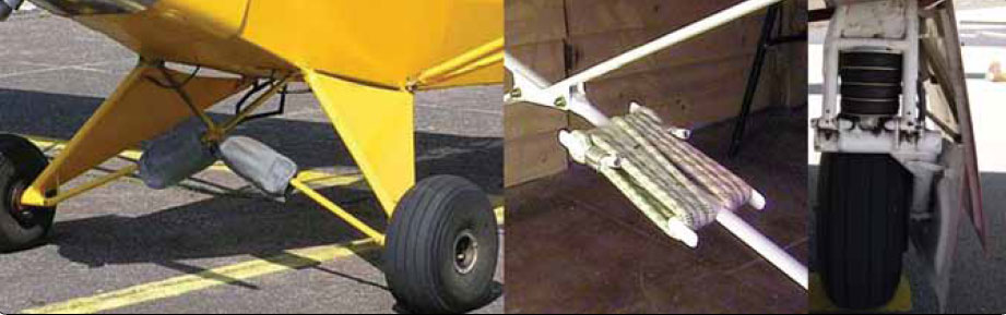 Figure 13-15. Piper Cub bungee cord landing gear transfer landing loads to the airframe (left and center). Rubber, donut-type shock transfer is used on some Mooney aircraft (right).