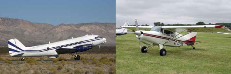 Figure 13-3. Tail wheel configuration landing gear on a DC-3 (left) and a STOL Maule MX-7-235 Super Rocket.