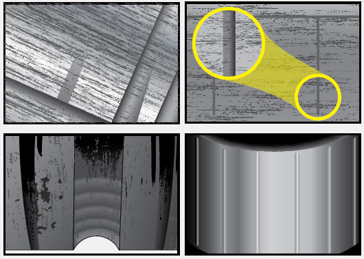 Figure 13-67. Brinelling is caused by excessive impact. It appears as indentations in the bearing cup raceways. Any static overload or severe impact can cause true brinelling, which leads to vibration and premature bearing failure.