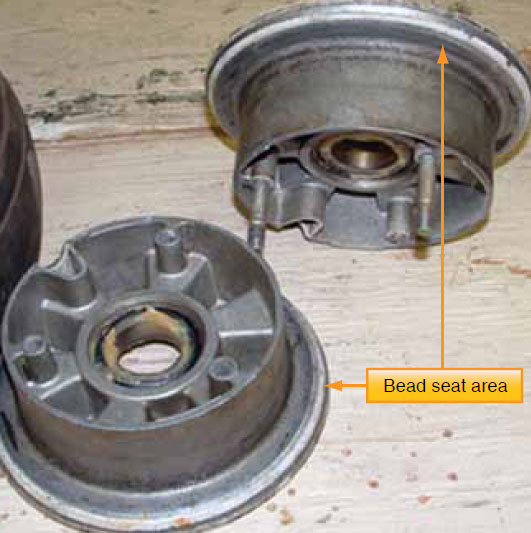 Figure 13-74. The bead seat areas of a light aircraft wheel set. Eddy current testing for cracks in the bead seat area is common.