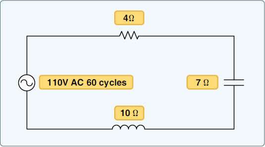 Figure 9-27. A circuit containing resistance, inductance, and capacitance.