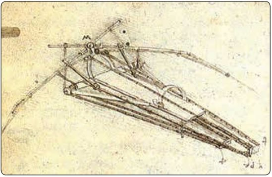 Figure 14-8. Leonardo DiVinci's rendering of a flying device for man.